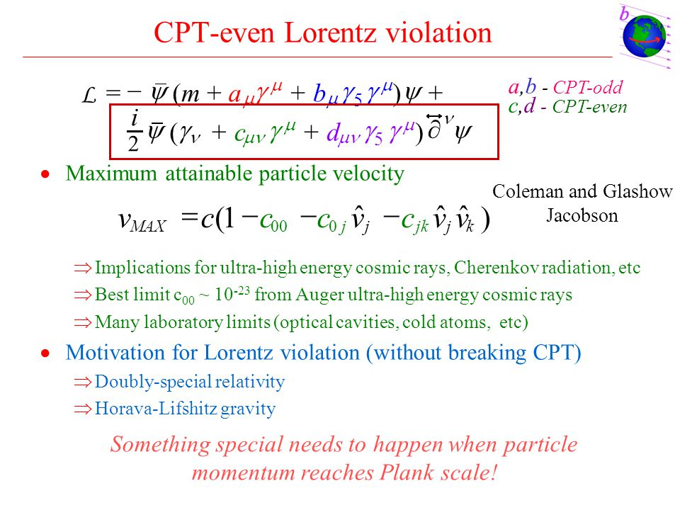 CPT-even Lorentz violation  Maximum attainable particle velocity  Implications for ultra-high energy cosmic rays, Cherenkov radiation, etc  Best li
