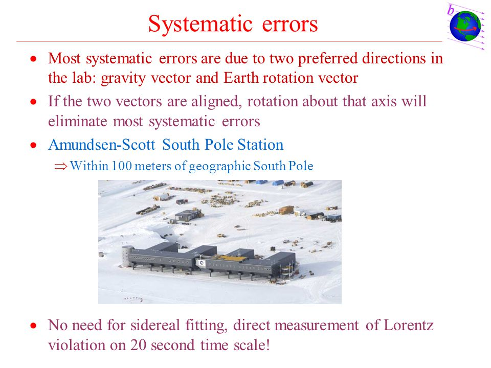 Systematic errors  Most systematic errors are due to two preferred directions in the lab: gravity vector and Earth rotation vector  If the two vecto