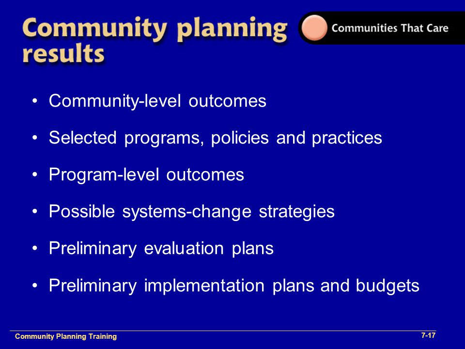 Community Planning Training 1- Community Planning Training 7-17 Community-level outcomes Selected programs, policies and practices Program-level outco