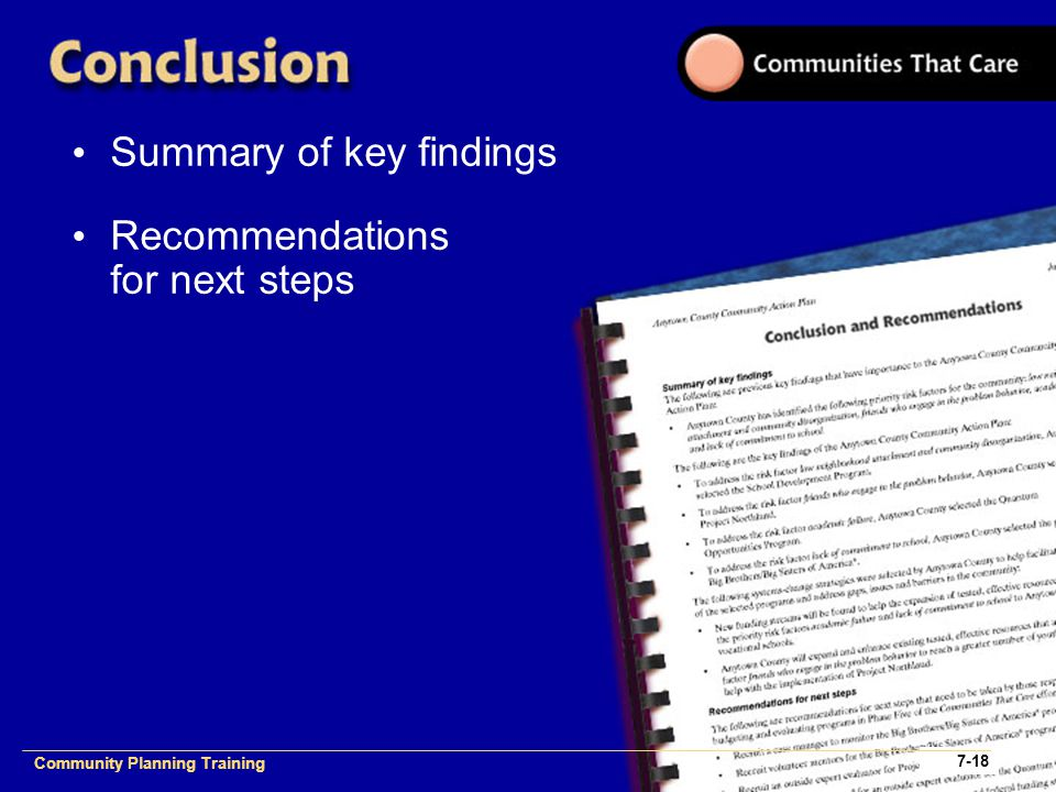 Community Planning Training 1- Community Planning Training 7-18 Summary of key findings Recommendations for next steps