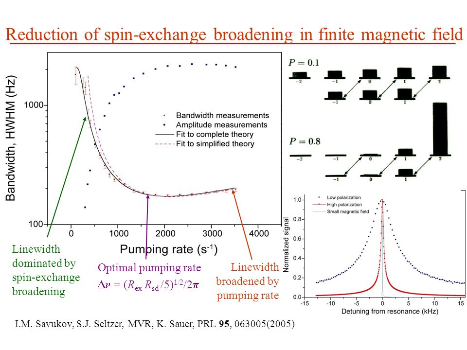 Reduction of spin-exchange broadening in finite magnetic field Linewidth dominated by spin-exchange broadening Linewidth broadened by pumping rate Optimal pumping rate  = (R ex R sd /5) 1/2 /2  I.M.