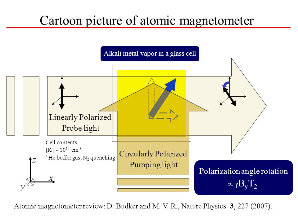 Cartoon picture of atomic magnetometer Alkali metal vapor in a glass cell Magnetization Magnetic Field Linearly Polarized Probe light Circularly Polarized Pumping light Polarization angle rotation   B y T 2 x z y Cell contents [K] ~ 10 14 cm -3 4 He buffer gas, N 2 quenching Atomic magnetometer review: D.