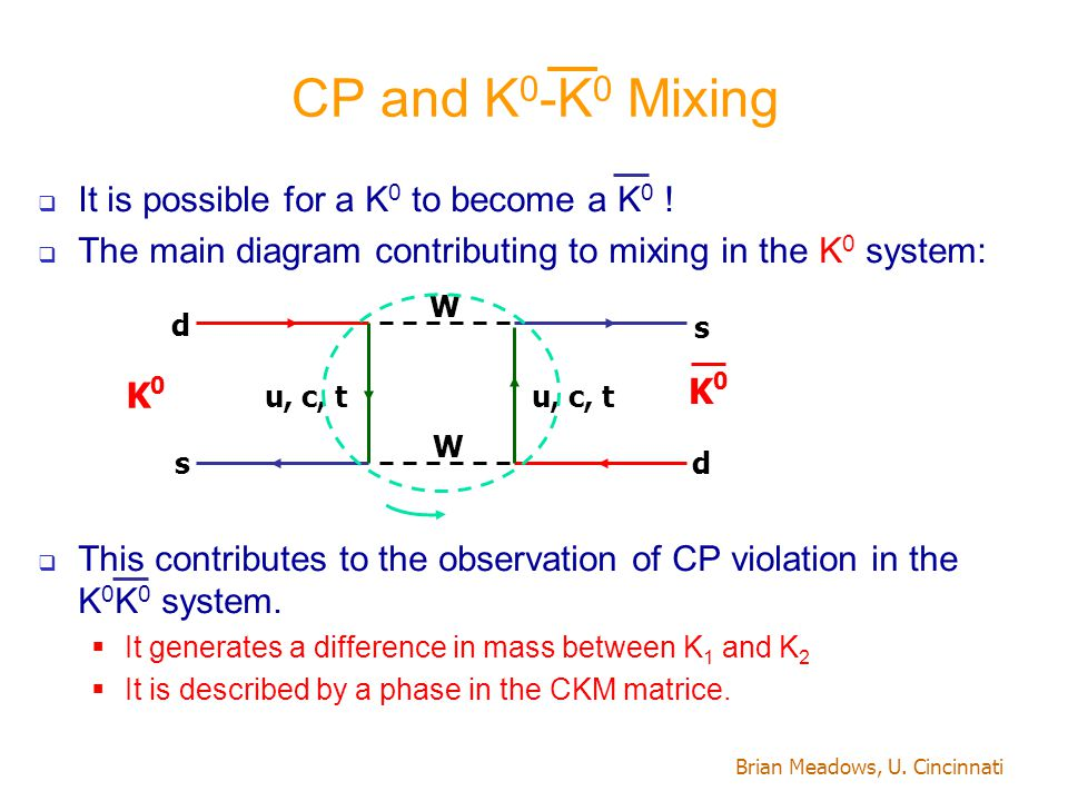 Brian Meadows, U. Cincinnati CP and K 0 -K 0 Mixing  It is possible for a K 0 to become a K 0 !  The main diagram contributing to mixing in the K 0