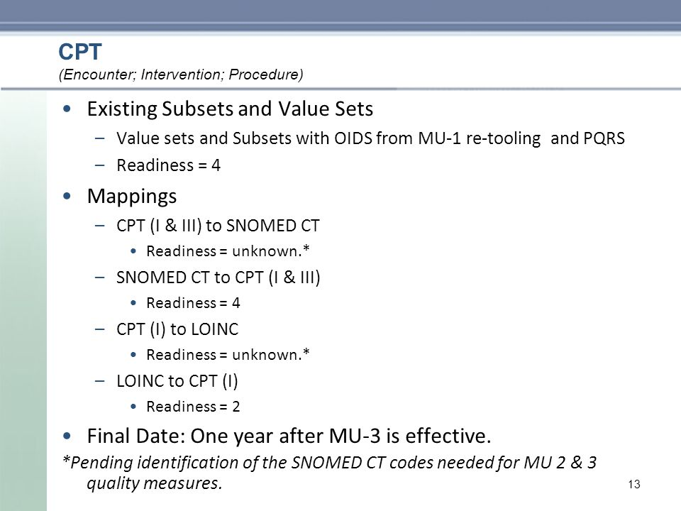 CPT Existing Subsets and Value Sets –Value sets and Subsets with OIDS from MU-1 re-tooling and PQRS –Readiness = 4 Mappings –CPT (I & III) to SNOMED CT Readiness = unknown.* –SNOMED CT to CPT (I & III) Readiness = 4 –CPT (I) to LOINC Readiness = unknown.* –LOINC to CPT (I) Readiness = 2 Final Date: One year after MU-3 is effective.