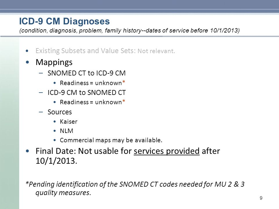 ICD-9 CM Diagnoses Existing Subsets and Value Sets: Not relevant.
