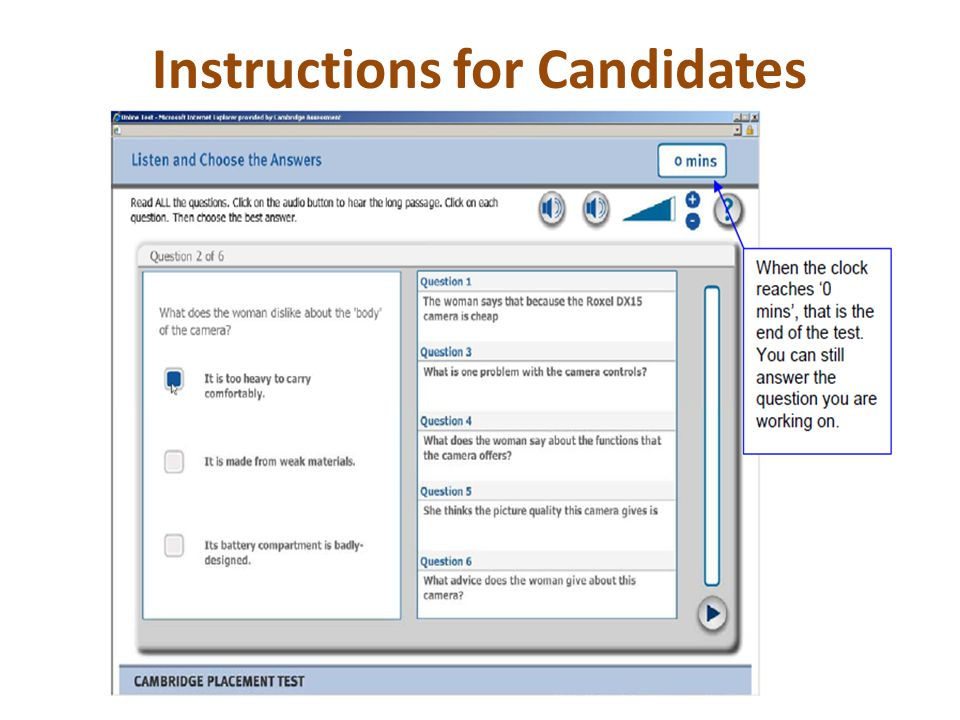 Instructions for Candidates