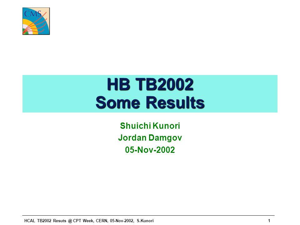 HCAL TB2002 Resuts @ CPT Week, CERN, 05-Nov-2002, S.Kunori1 HB TB2002 Some Results Shuichi Kunori Jordan Damgov 05-Nov-2002