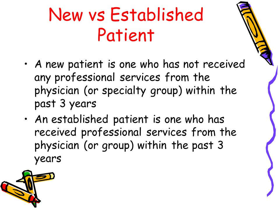 New vs Established Patient A new patient is one who has not received any professional services from the physician (or specialty group) within the past 3 years An established patient is one who has received professional services from the physician (or group) within the past 3 years
