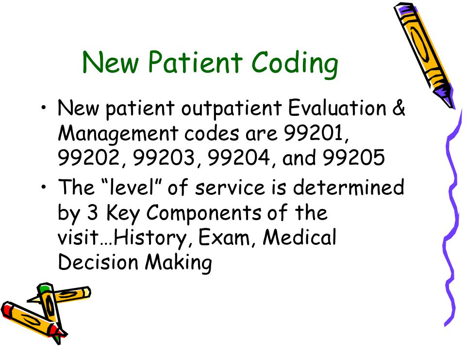 New Patient Coding New patient outpatient Evaluation & Management codes are 99201, 99202, 99203, 99204, and 99205 The level of service is determined by 3 Key Components of the visit…History, Exam, Medical Decision Making