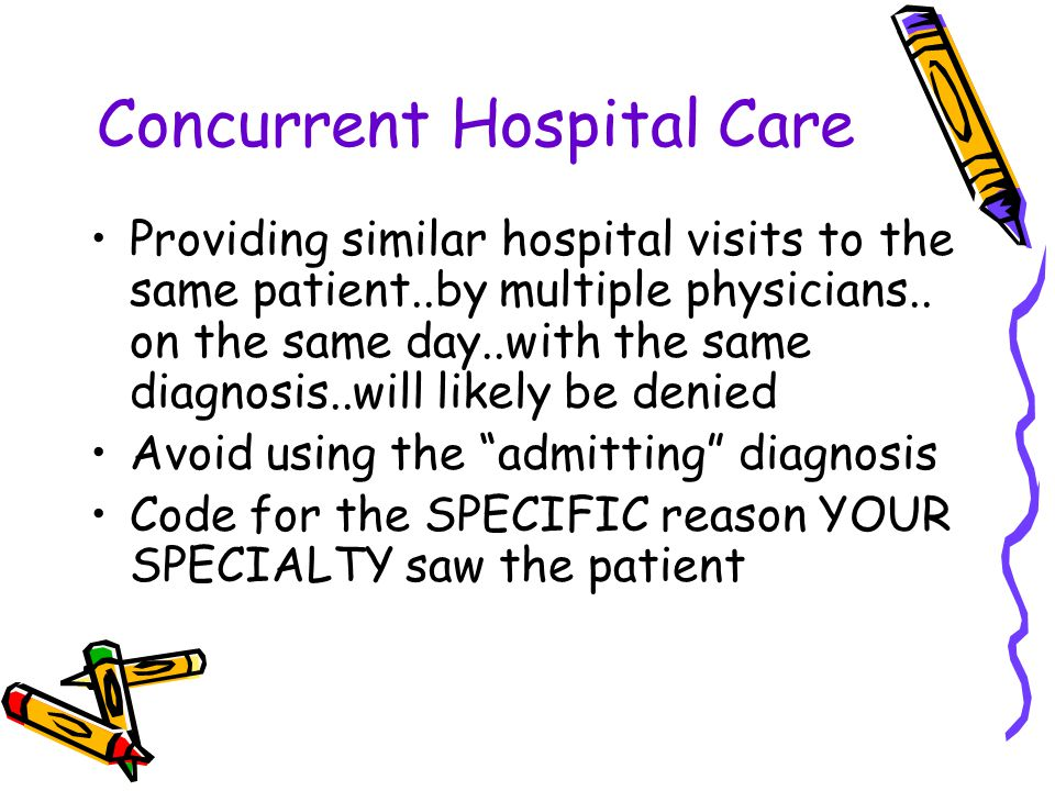 Concurrent Hospital Care Providing similar hospital visits to the same patient..by multiple physicians..