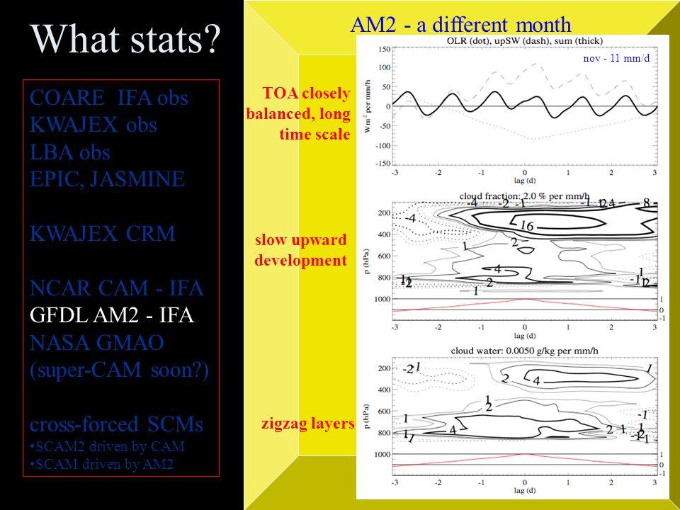 What stats? COARE IFA obs KWAJEX obs LBA obs EPIC, JASMINE KWAJEX CRM NCAR CAM - IFA GFDL AM2 - IFA NASA GMAO (super-CAM soon?) cross-forced SCMs SCAM