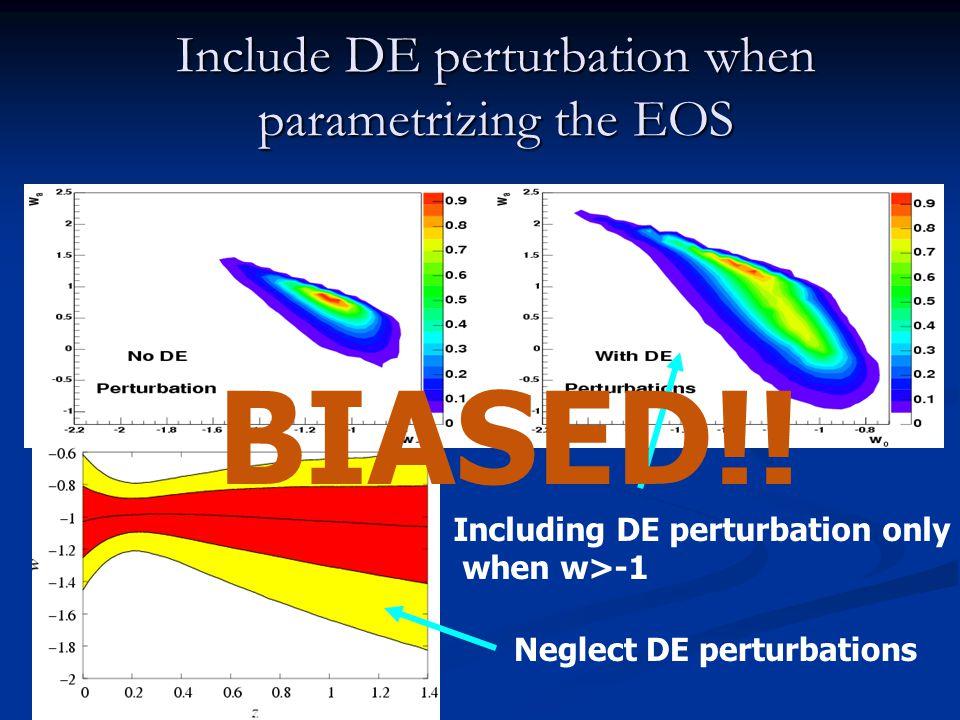 Include DE perturbation when parametrizing the EOS Seljak et al Astro-ph/0407372 Ch.