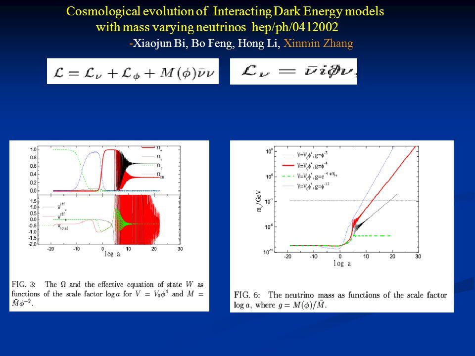 Cosmological evolution of Interacting Dark Energy models with mass varying neutrinos hep/ph/0412002 -Xiaojun Bi, Bo Feng, Hong Li, Xinmin Zhang