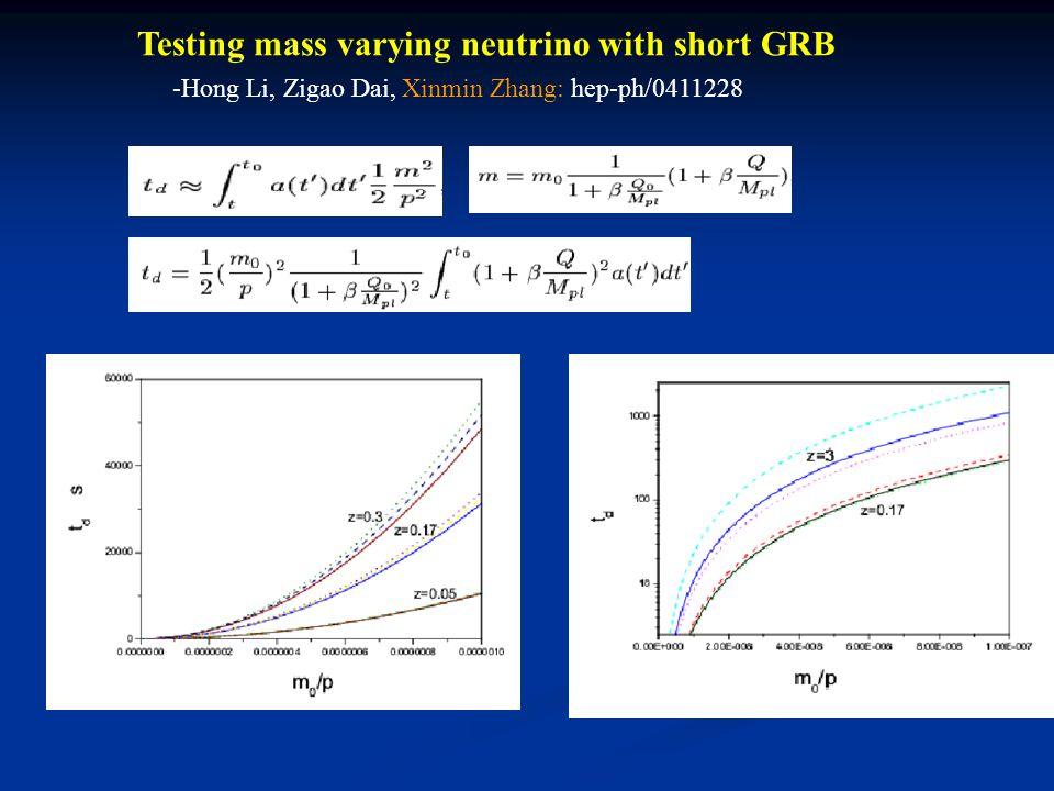 Testing mass varying neutrino with short GRB -Hong Li, Zigao Dai, Xinmin Zhang: hep-ph/0411228