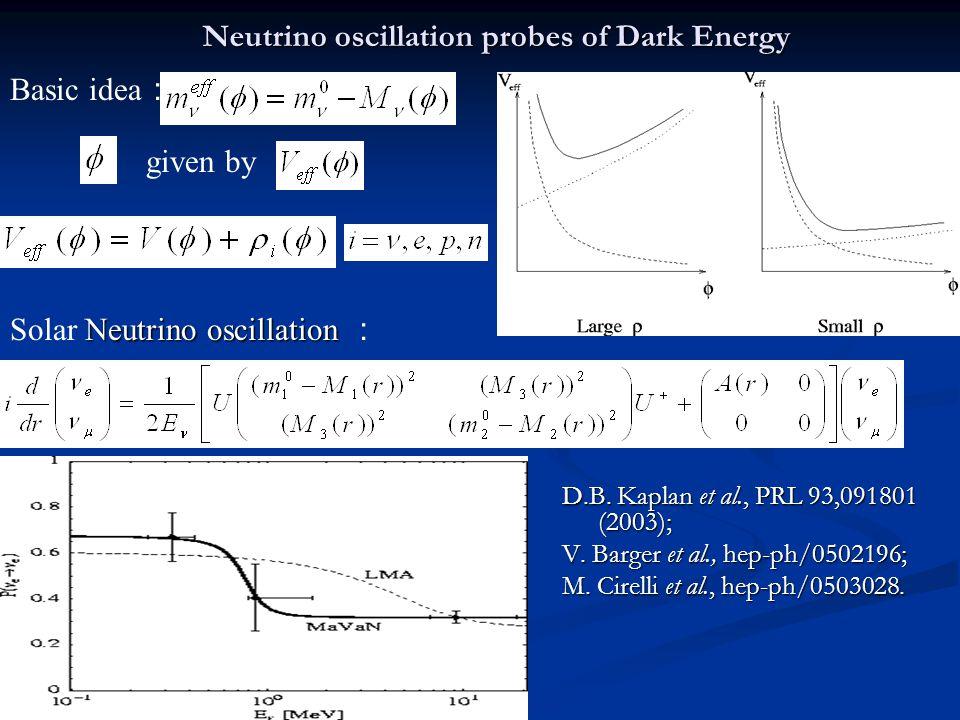 Neutrino oscillation probes of Dark Energy D.B. Kaplan et al., PRL 93,091801 (2003); V.
