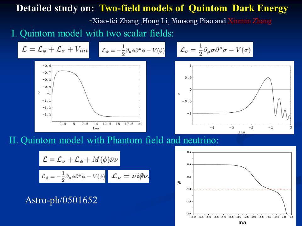 Detailed study on: Two-field models of Quintom Dark Energy - Xiao-fei Zhang,Hong Li, Yunsong Piao and Xinmin Zhang I.