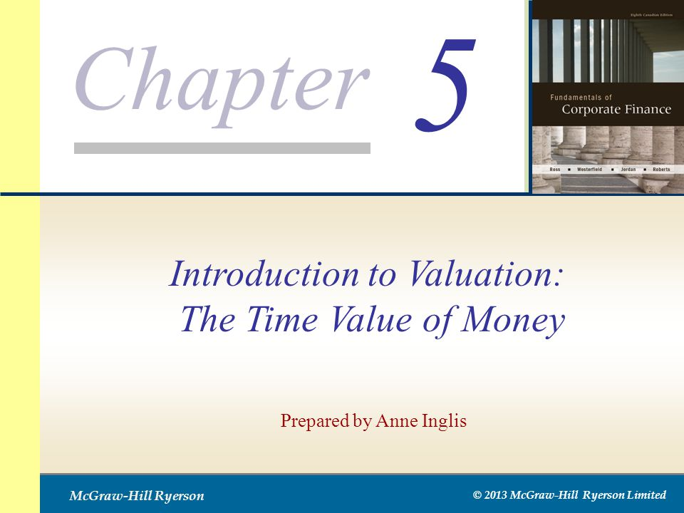 Chapter McGraw-Hill Ryerson © 2013 McGraw-Hill Ryerson Limited 5 Prepared by Anne Inglis Introduction to Valuation: The Time Value of Money