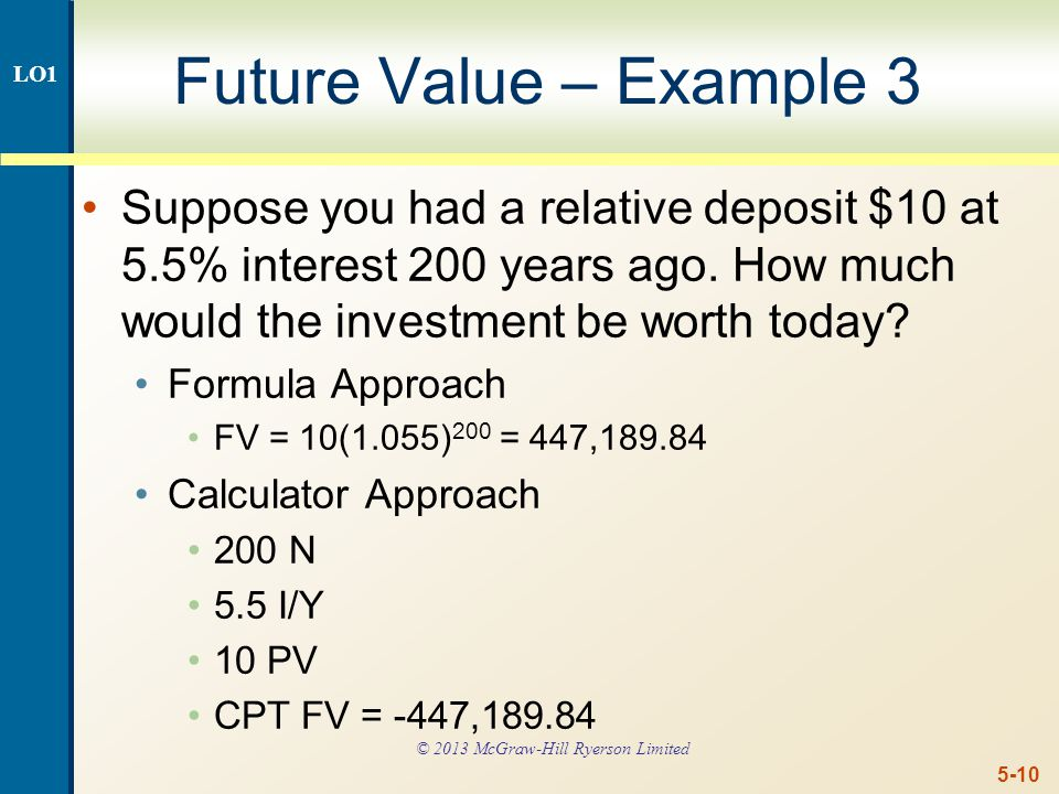 5-10 Future Value – Example 3 Suppose you had a relative deposit $10 at 5.5% interest 200 years ago.