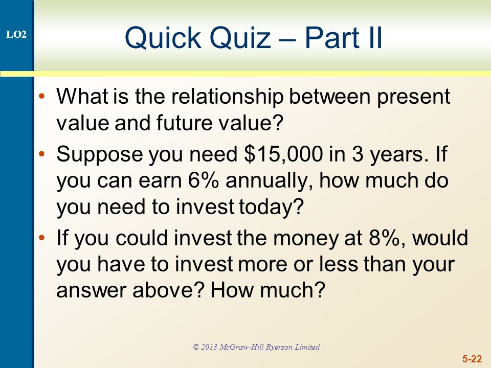 5-22 Quick Quiz – Part II What is the relationship between present value and future value.