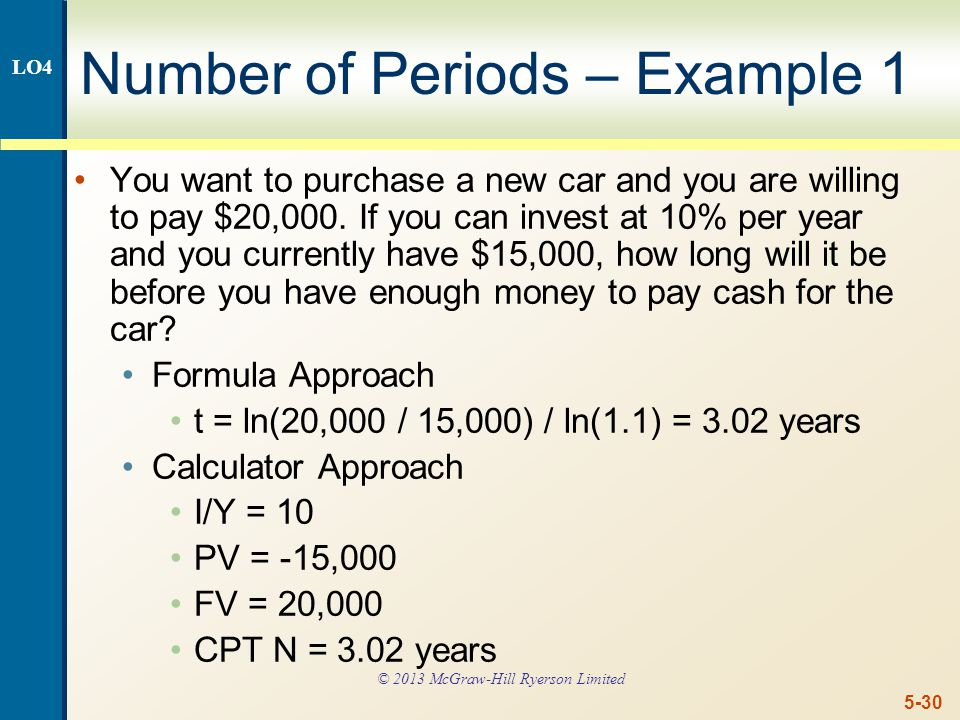 5-30 Number of Periods – Example 1 You want to purchase a new car and you are willing to pay $20,000.