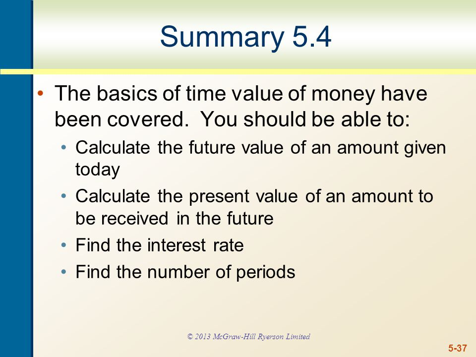 5-37 Summary 5.4 The basics of time value of money have been covered.