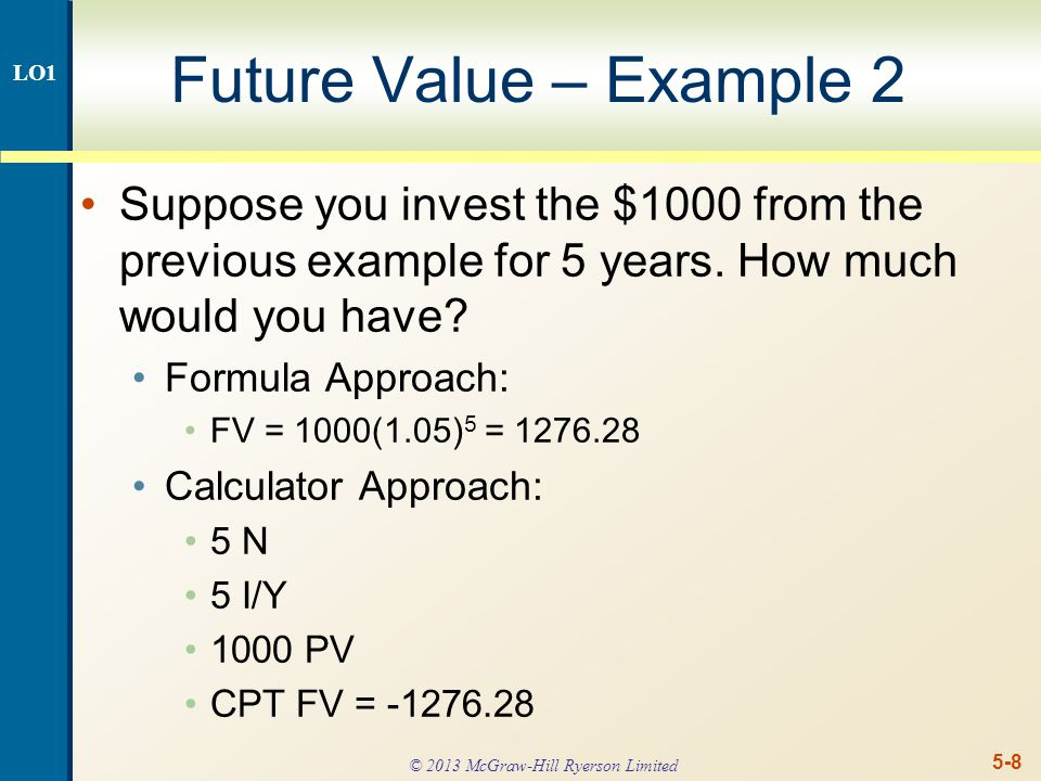 5-9 Future Value – Example 2 continued The effect of compounding is small for a small number of periods, but increases as the number of periods increases.