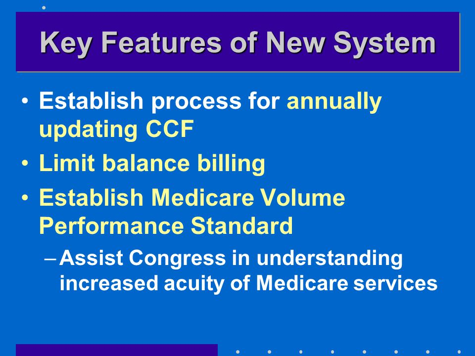 Key Features of New System Establish process for annually updating CCF Limit balance billing Establish Medicare Volume Performance Standard –Assist Co