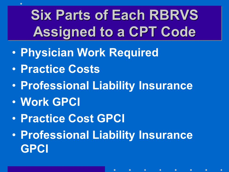 Six Parts of Each RBRVS Assigned to a CPT Code Physician Work Required Practice Costs Professional Liability Insurance Work GPCI Practice Cost GPCI Professional Liability Insurance GPCI