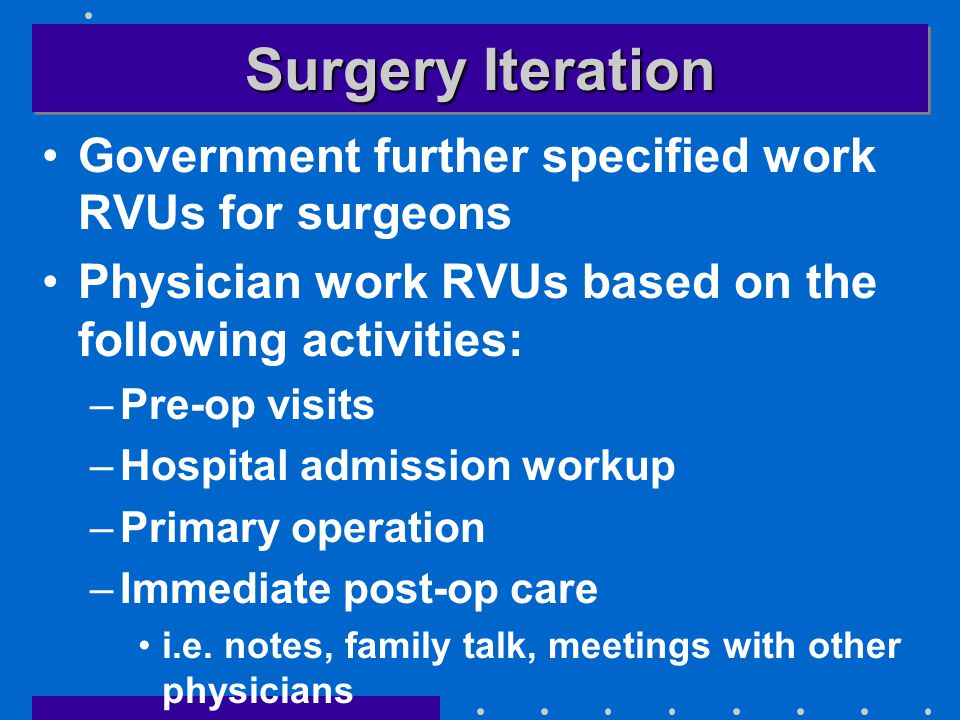 Surgery Iteration Government further specified work RVUs for surgeons Physician work RVUs based on the following activities: –Pre-op visits –Hospital admission workup –Primary operation –Immediate post-op care i.e.