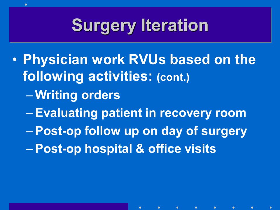 Surgery Iteration Physician work RVUs based on the following activities: (cont.) –Writing orders –Evaluating patient in recovery room –Post-op follow