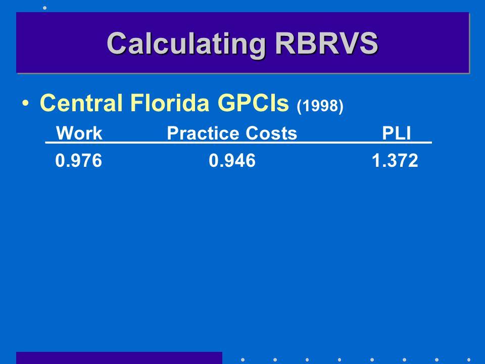Calculating RBRVS Central Florida GPCIs (1998) _Work_Practice Costs__PLI__ 0.976 0.946 1.372