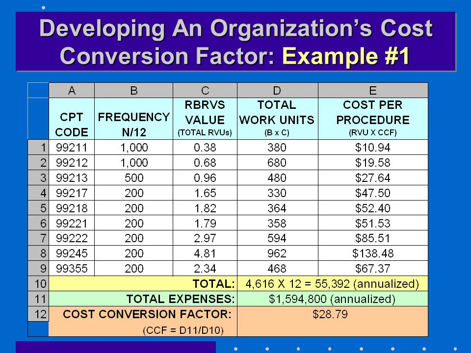 Developing An Organization's Cost Conversion Factor: Example #1