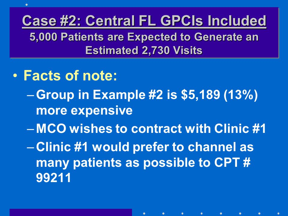 Facts of note: –Group in Example #2 is $5,189 (13%) more expensive –MCO wishes to contract with Clinic #1 –Clinic #1 would prefer to channel as many p