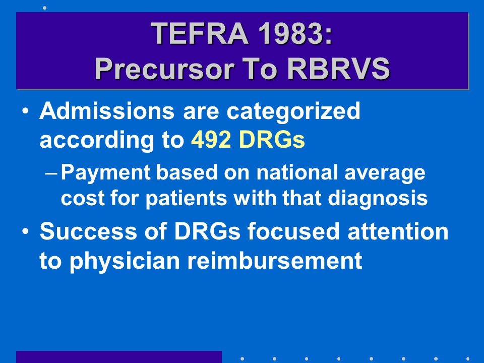 TEFRA 1983: Precursor To RBRVS Admissions are categorized according to 492 DRGs –Payment based on national average cost for patients with that diagnos