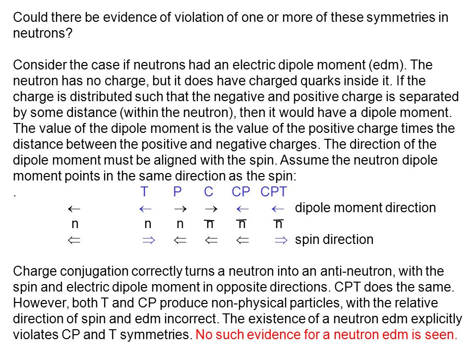 Could there be evidence of violation of one or more of these symmetries in neutrons? Consider the case if neutrons had an electric dipole moment (edm)
