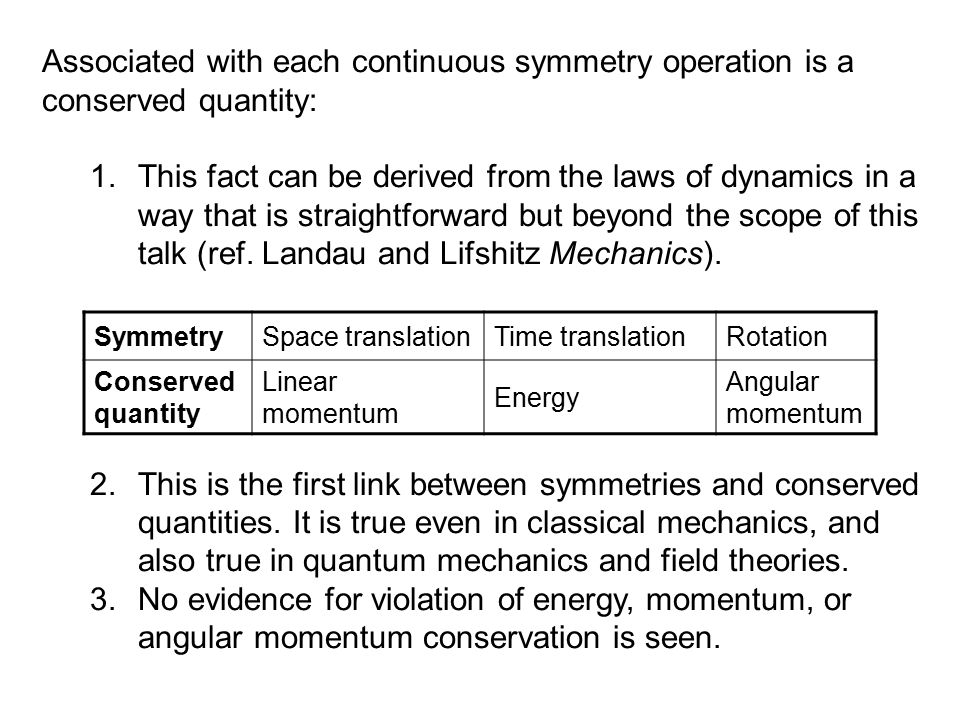 Associated with each continuous symmetry operation is a conserved quantity: 1.This fact can be derived from the laws of dynamics in a way that is stra