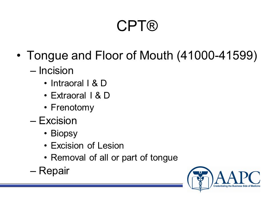 CPT® Tongue and Floor of Mouth (41000-41599) –Incision Intraoral I & D Extraoral I & D Frenotomy –Excision Biopsy Excision of Lesion Removal of all or part of tongue –Repair