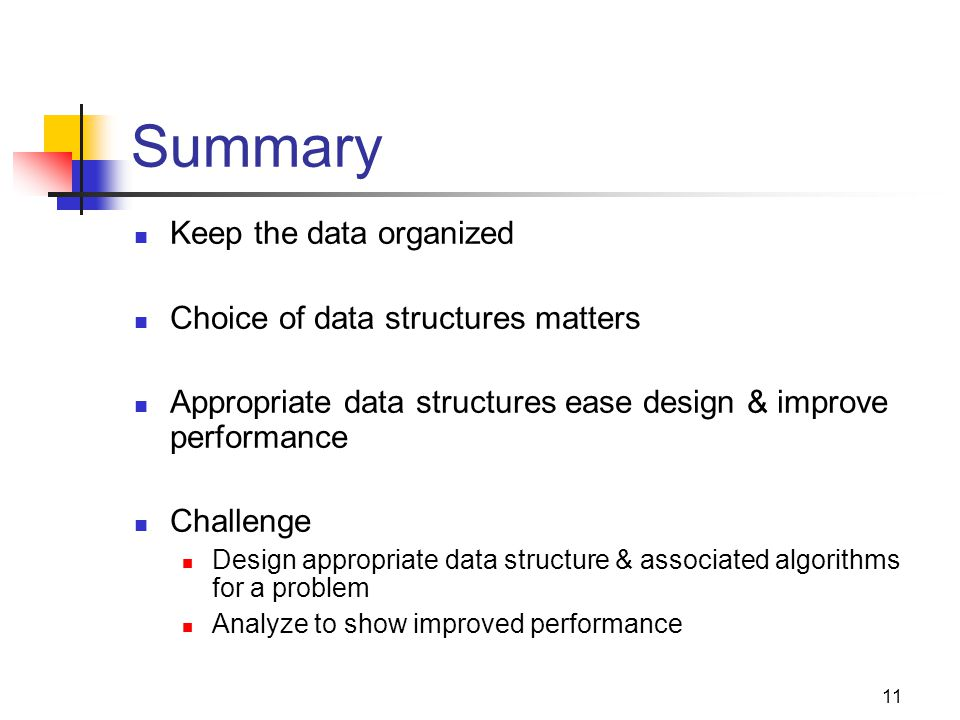 11 Summary Keep the data organized Choice of data structures matters Appropriate data structures ease design & improve performance Challenge Design ap