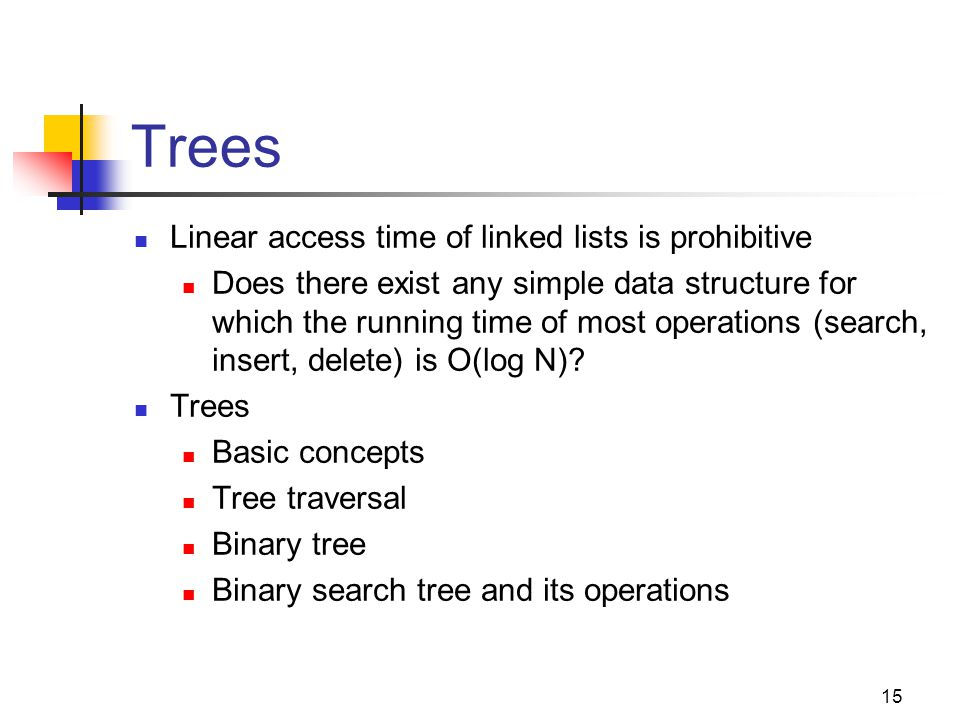 Trees Linear access time of linked lists is prohibitive Does there exist any simple data structure for which the running time of most operations (sear
