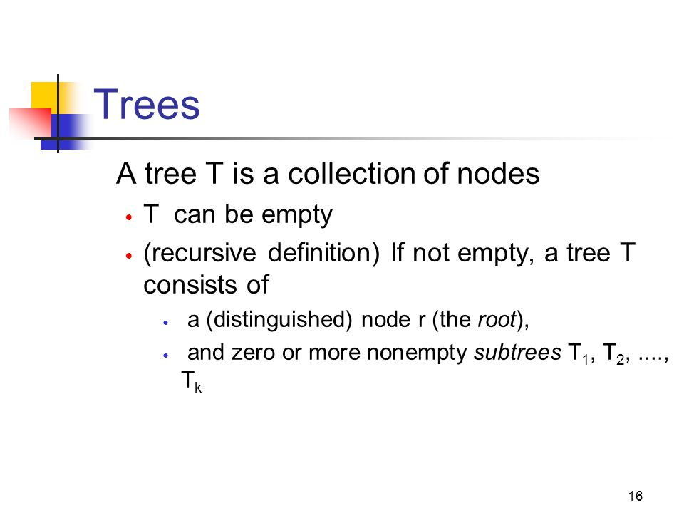 Trees A tree T is a collection of nodes T can be empty (recursive definition) If not empty, a tree T consists of a (distinguished) node r (the root),