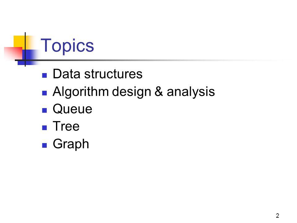 2 Topics Data structures Algorithm design & analysis Queue Tree Graph
