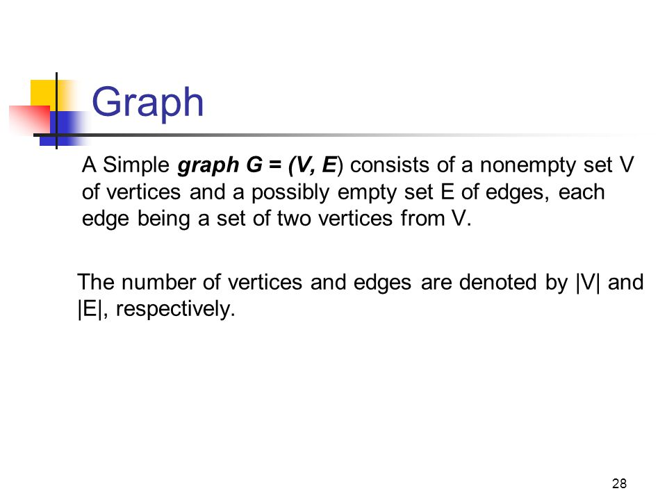 Graph o A Simple graph G = (V, E) consists of a nonempty set V of vertices and a possibly empty set E of edges, each edge being a set of two vertices