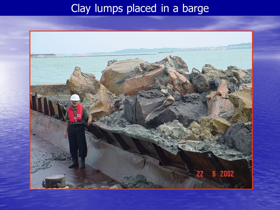 Clay lumps placed in a barge
