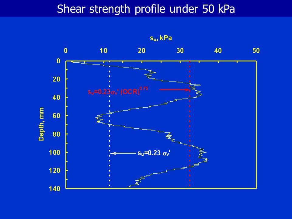 Shear strength profile under 100 kPa