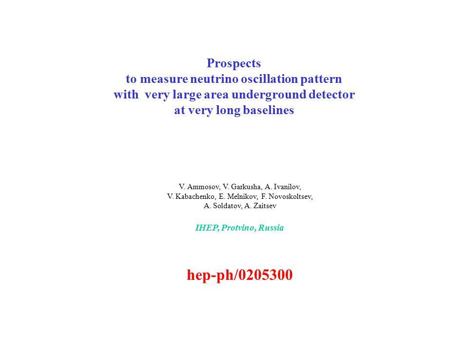 Prospects to measure neutrino oscillation pattern with very large area underground detector at very long baselines V. Ammosov, V. Garkusha, A. Ivanilo