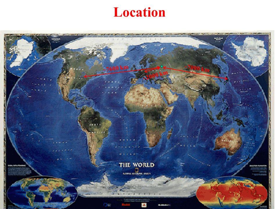 Location ~7600 km ~7000 km ~2000 km