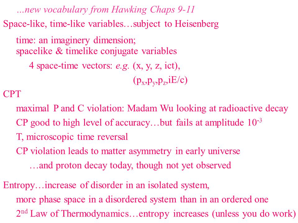 …new vocabulary from Hawking Chaps 9-11 Space-like, time-like variables…subject to Heisenberg time: an imaginery dimension; spacelike & timelike conjugate variables 4 space-time vectors: e.g.