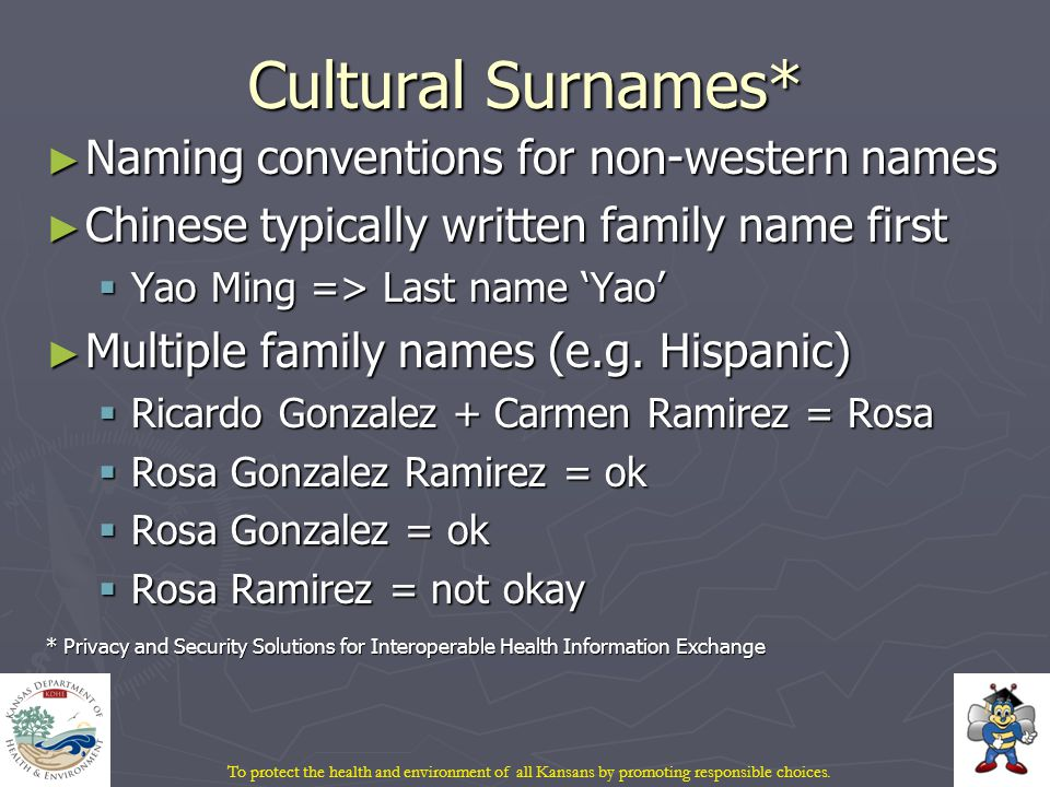 Cultural Surnames* ► Naming conventions for non-western names ► Chinese typically written family name first  Yao Ming => Last name 'Yao' ► Multiple family names (e.g.