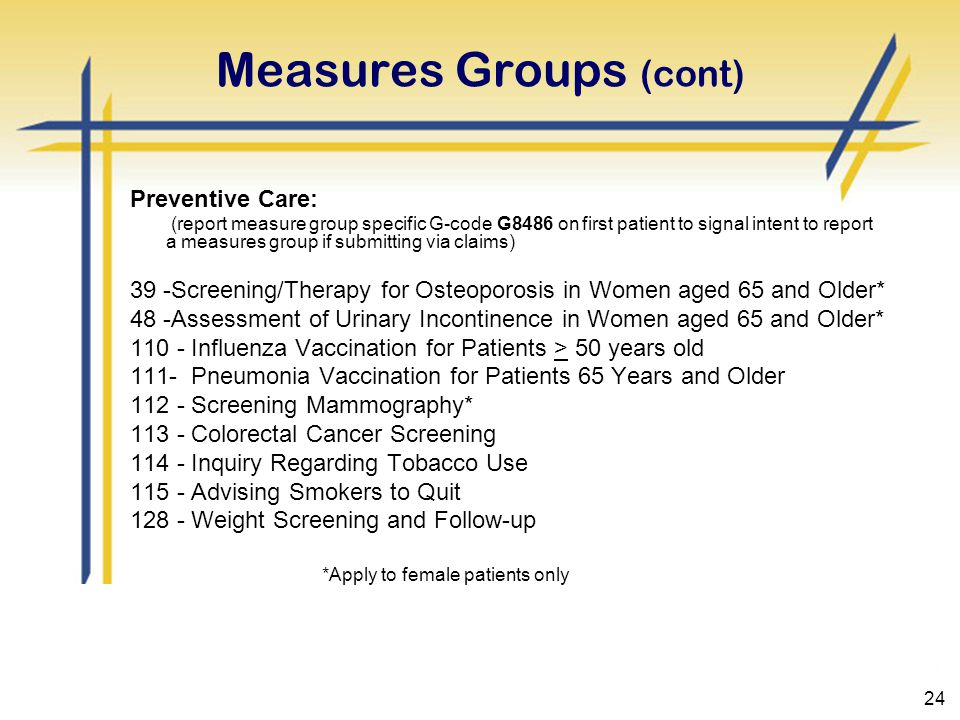 24 Measures Groups (cont) Preventive Care: (report measure group specific G-code G8486 on first patient to signal intent to report a measures group if submitting via claims) 39 -Screening/Therapy for Osteoporosis in Women aged 65 and Older* 48 -Assessment of Urinary Incontinence in Women aged 65 and Older* 110 - Influenza Vaccination for Patients > 50 years old 111- Pneumonia Vaccination for Patients 65 Years and Older 112 - Screening Mammography* 113 - Colorectal Cancer Screening 114 - Inquiry Regarding Tobacco Use 115 - Advising Smokers to Quit 128 - Weight Screening and Follow-up *Apply to female patients only