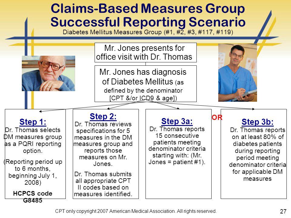 27 Claims-Based Measures Group Successful Reporting Scenario Diabetes Mellitus Measures Group (#1, #2, #3, #117, #119) Mr.